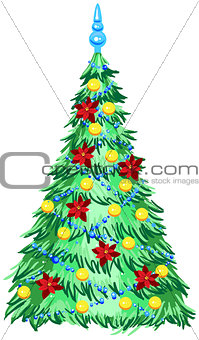 Green Christmas tree with ornaments