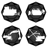 Badges with the technique of coal mining