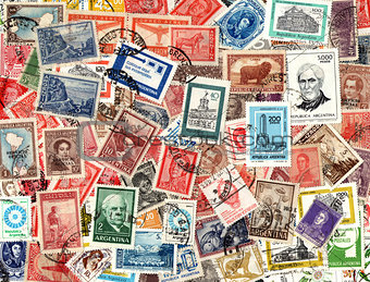 Background of old Argentinian postage stamps
