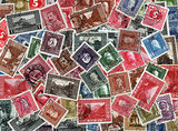 Background of old Bosnian postage stamps