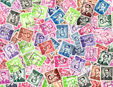 King Baudouin. Background of postage stamps