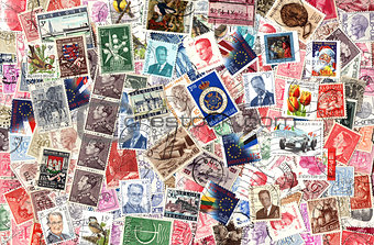 Background of Belgian postage stamps