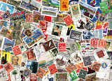 Background of German postage stamps