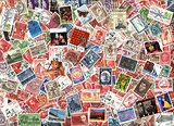 Background of old Danish postage stamps