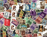 Background of Egyptian postage stamps