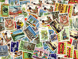 Background of Ghanaian postage stamps