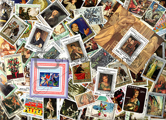 Art. Background of postage stamps
