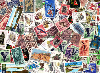 Background of South African postage stamps