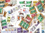 Background of Russian postage stamps - scraps