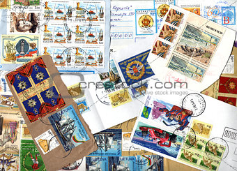 Background of postage stamps. Scraps