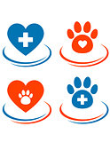 set of veterinary symbols heart, cross and paw