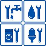 set of plumbing signs