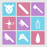 Dog grooming icons set or pet hair salon