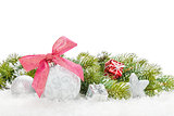 Christmas colorful decor with snow fir tree