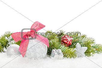 Christmas colorful decor with snow fir tree