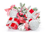 Christmas colorful decor, gift box and snow fir tree