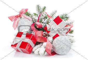 Christmas colorful decor, gift box and snow fir tree