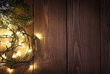Christmas lights and snow fir tree