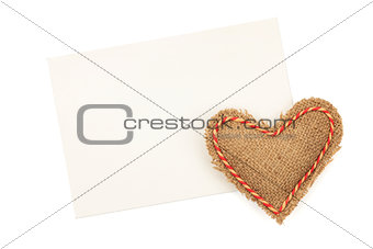 Blank greeting card and vintage handmaded valentines day heart