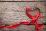 Valentines day heart shaped red ribbon