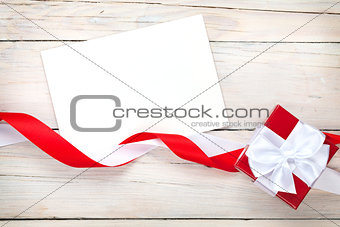 Greeting card and gift box with ribbon