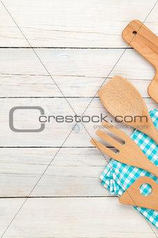 Kitchen utensil over wooden table