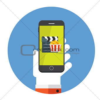 Flat Design Concept Cinema Icon Vector Illustration With Long Shadow.