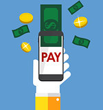 Mobile Banking Payment Flat Concept Vector Illustration