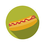 Flat Design Concept Hot Dog Vector Illustration With Long Shadow