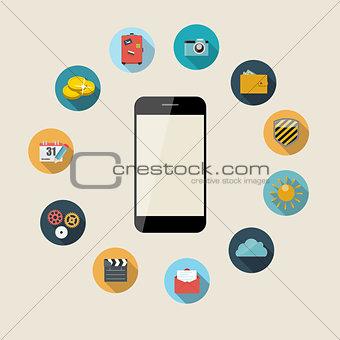 Flat Design Concept Mobile Phone Apps Vector Illustration.