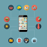 Flat Design Concept Mobile Phone Apps Vector Illustration.