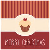 Holidays vector card with sweet cupcake and hand drawn Merry Christmas wishes