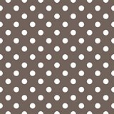 Seamless vector pattern with white polka dots on brown background.