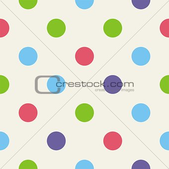 Tile vector pattern with colorful polka dots on grey background