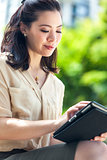 Asian Chinese Woman With Tablet Computer