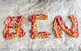 Fried bacon strips put in word