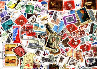 Background of Soviet postage stamps