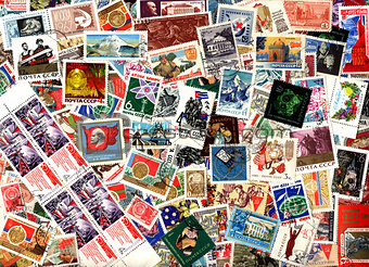 Background of Soviet postage stamps