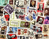 Famous people. Soviet postage stamps