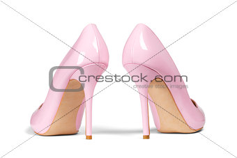 A pair of pink women's heel shoes