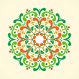 Vector illustration of a vintage radial ornament.