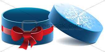 Blue open round gift box with a red bow