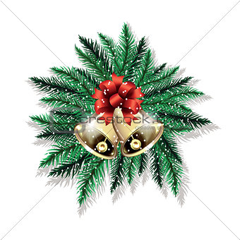 Pair of Christmas bells and fir tree branches isolated on white background.