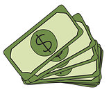 Sketch of green dollar bills