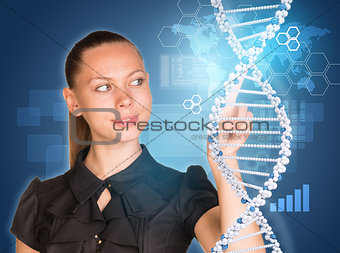 Beautiful woman in dress pointing finger on DNA model