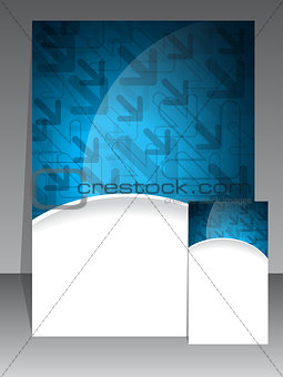 Blue brochure and business card