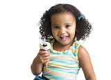 Kid eating ice cream isolated