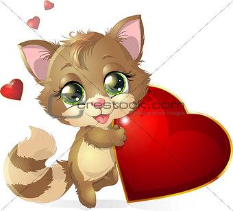 kitten and heart