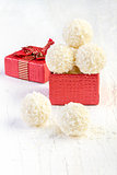 Coconut snowball truffles in the gift box