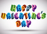 Happy Valentine's Day greeting phrase made with 3d retro style